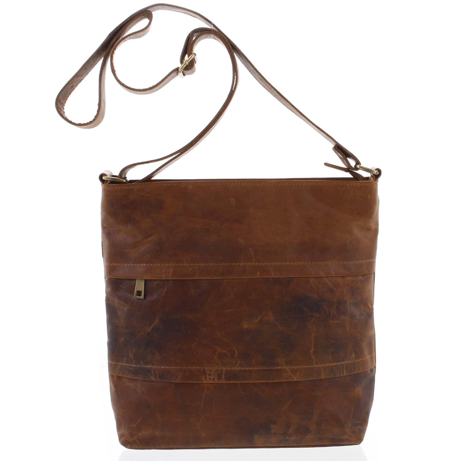 Veľká prírodná hnedá kožená crossbody taška - Tomas Maand koňak