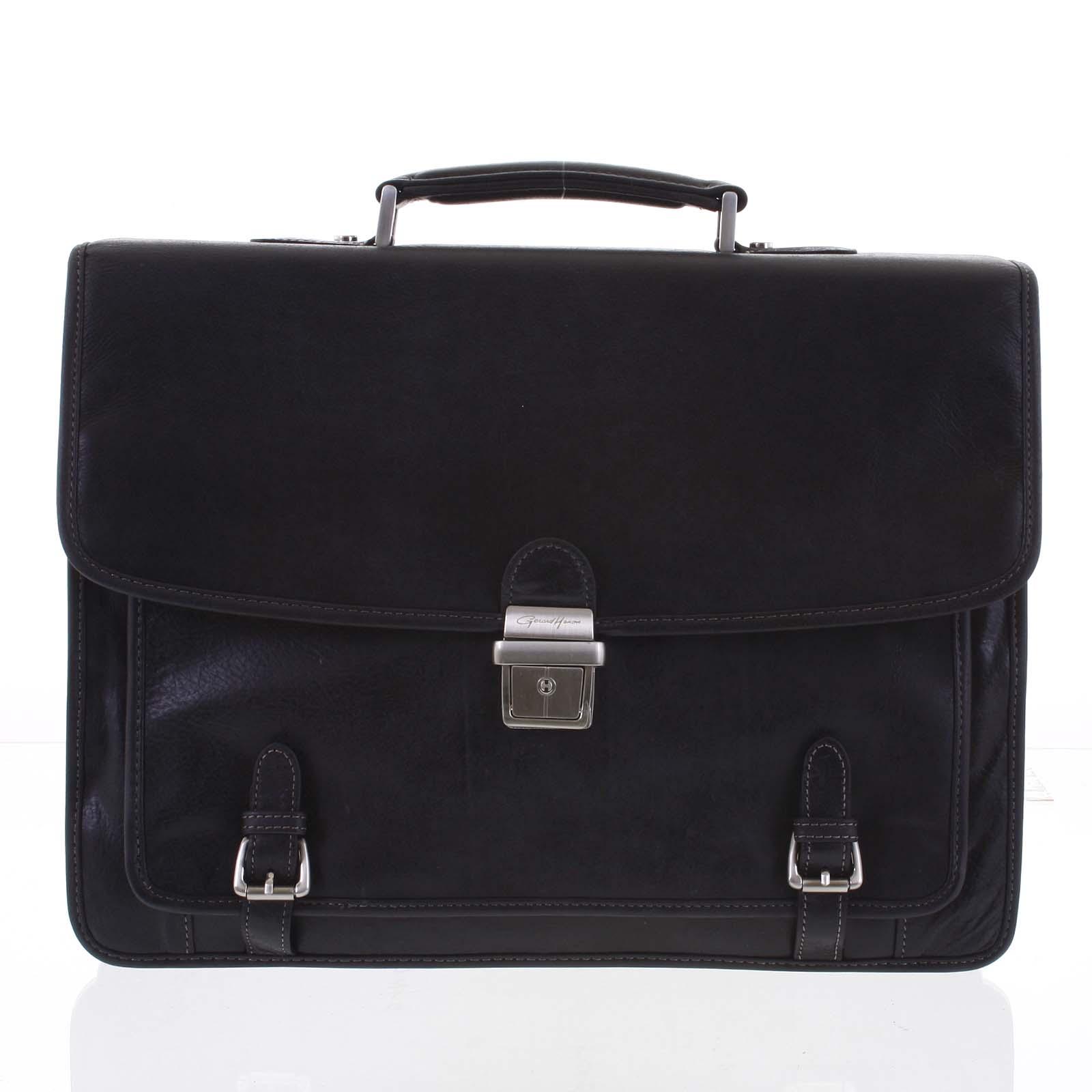 Veľká luxusná čierna pánska kožená aktovka - Gerard Henon Danny čierna