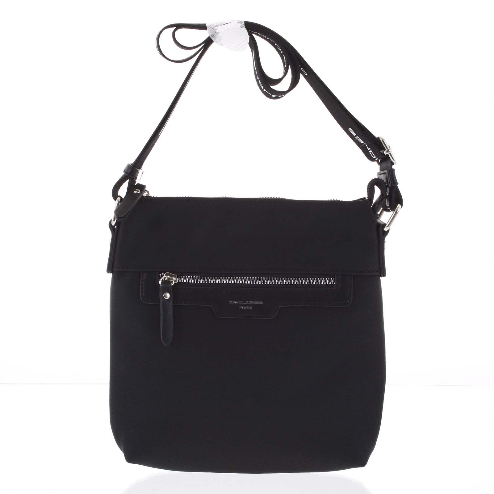 Jednoduchá dámská čierna crossbody kabelka - David Jones Antuane čierna