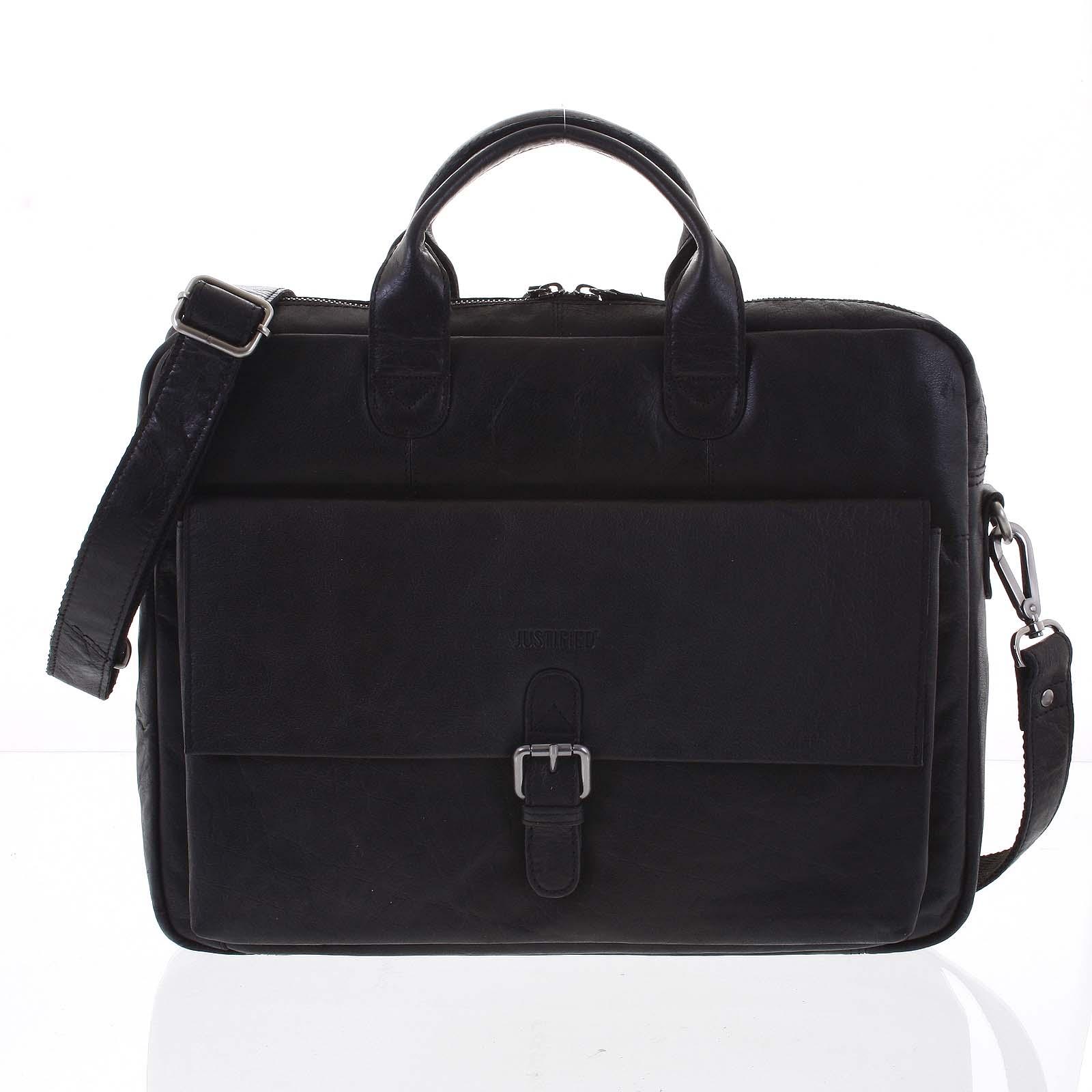 Luxusná čierna kožená pracovná taška na notebook - Justified Andrew čierna