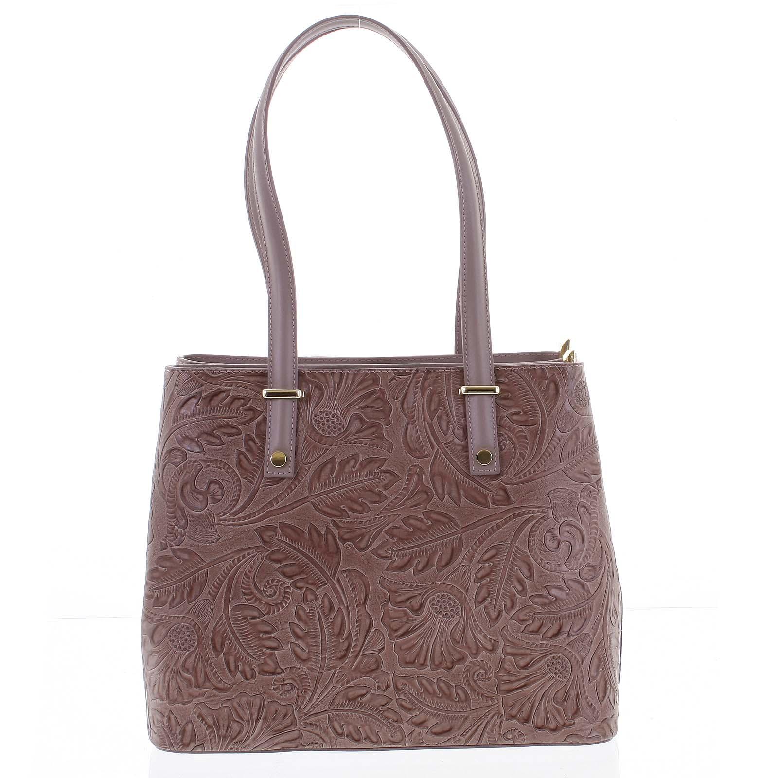 Exkluzívna dámska kožená kabelka tmavoružová - ItalY Logistilla ružová
