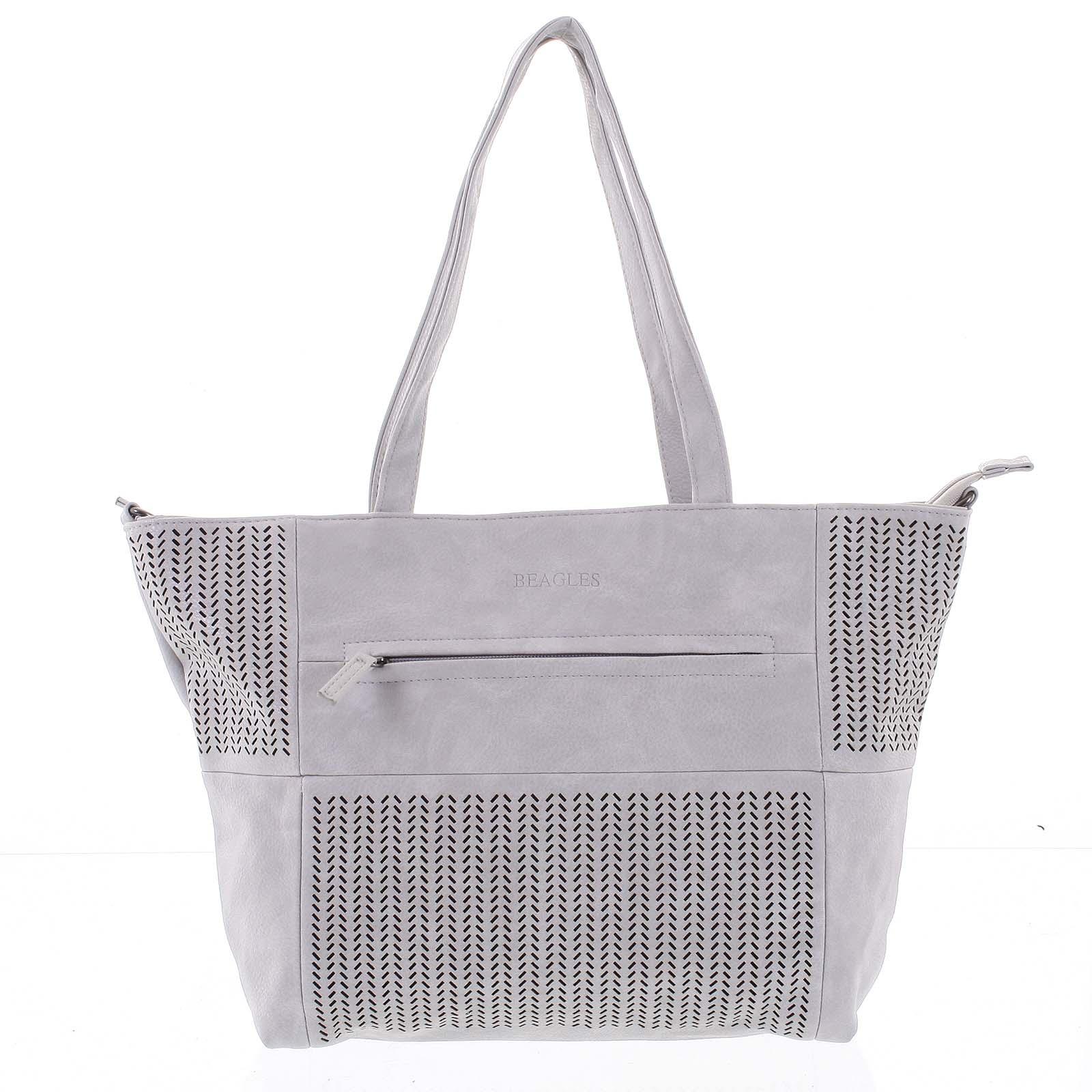 Elegantná perforovaná dámska kabelka cez rameno svetlo šedá - Beagles Lema šedá