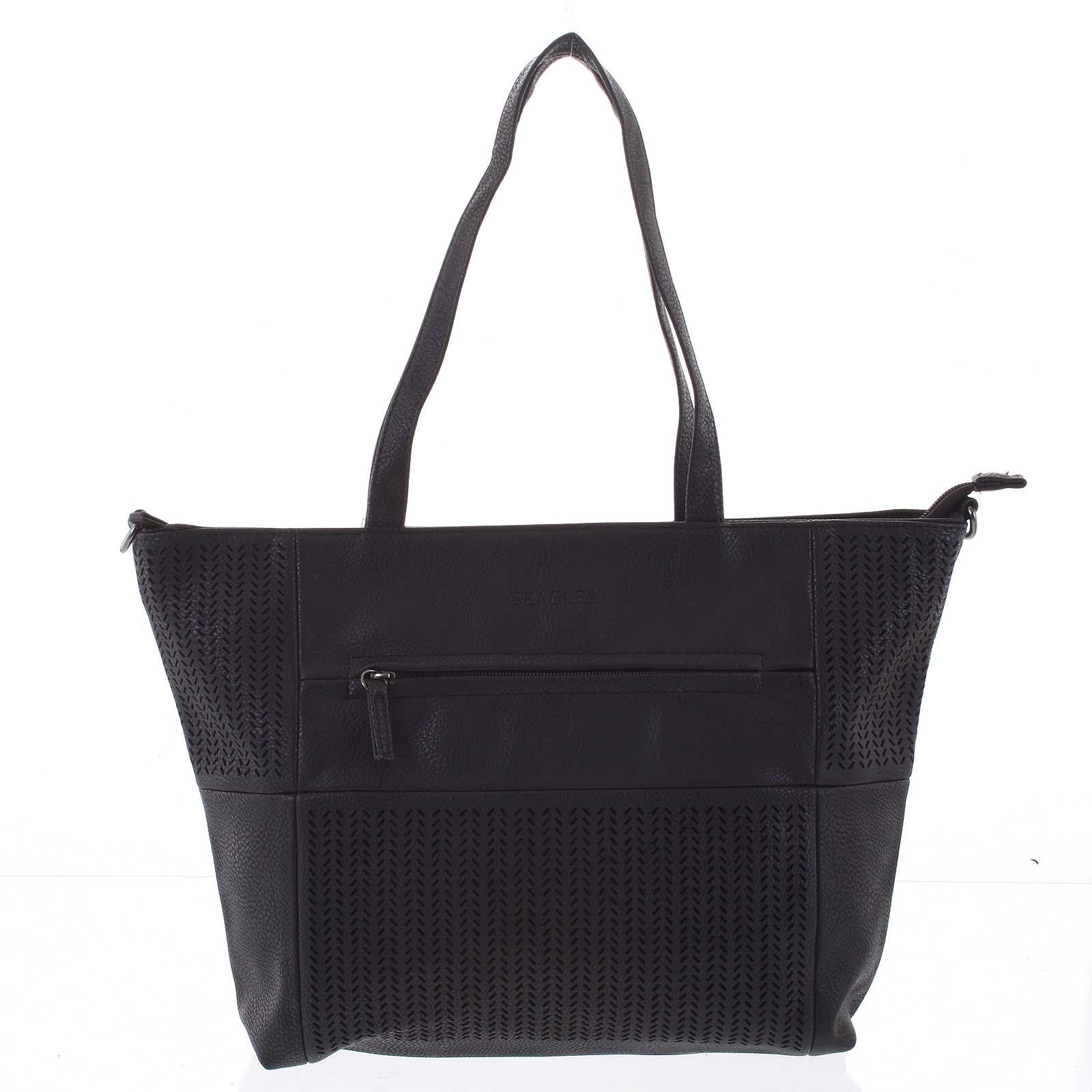 Elegantná perforovaná dámska kabelka cez rameno čierna - Beagles Lema čierna