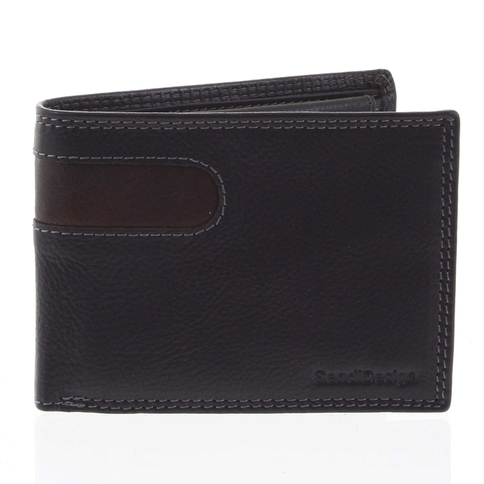 Pánska kožená peňaženka tenká čierna - SendiDesign Elohi čierna
