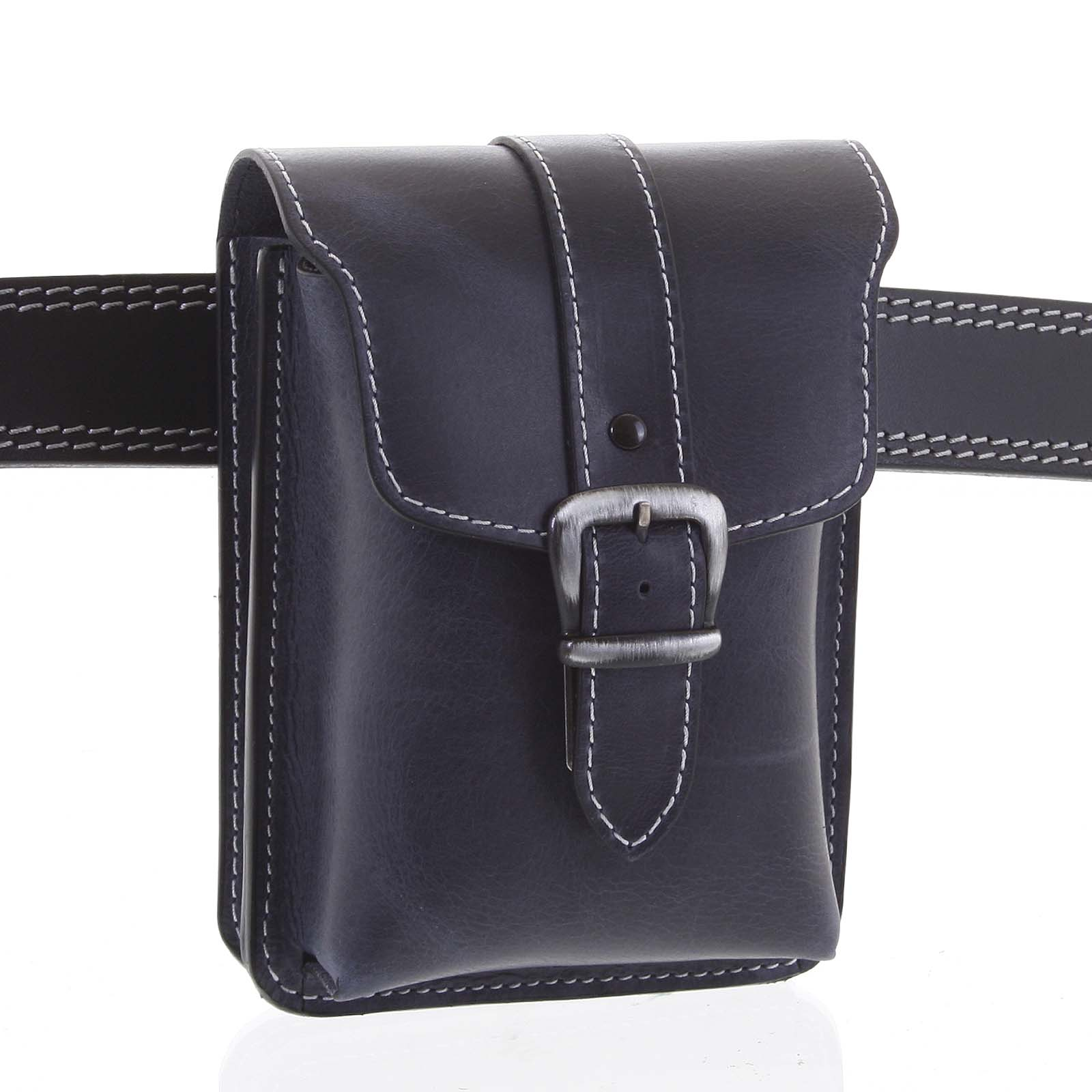 Pánske kožené vrecko na opasok čierno modrá - Kabea Hepp 2 čierna