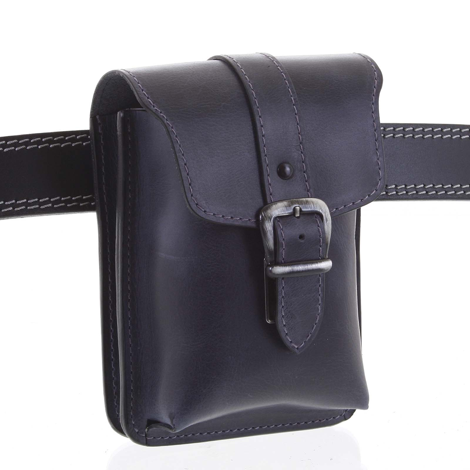 Pánske kožené vrecko na opasok čierno modrá - Kabea Hepp čierna