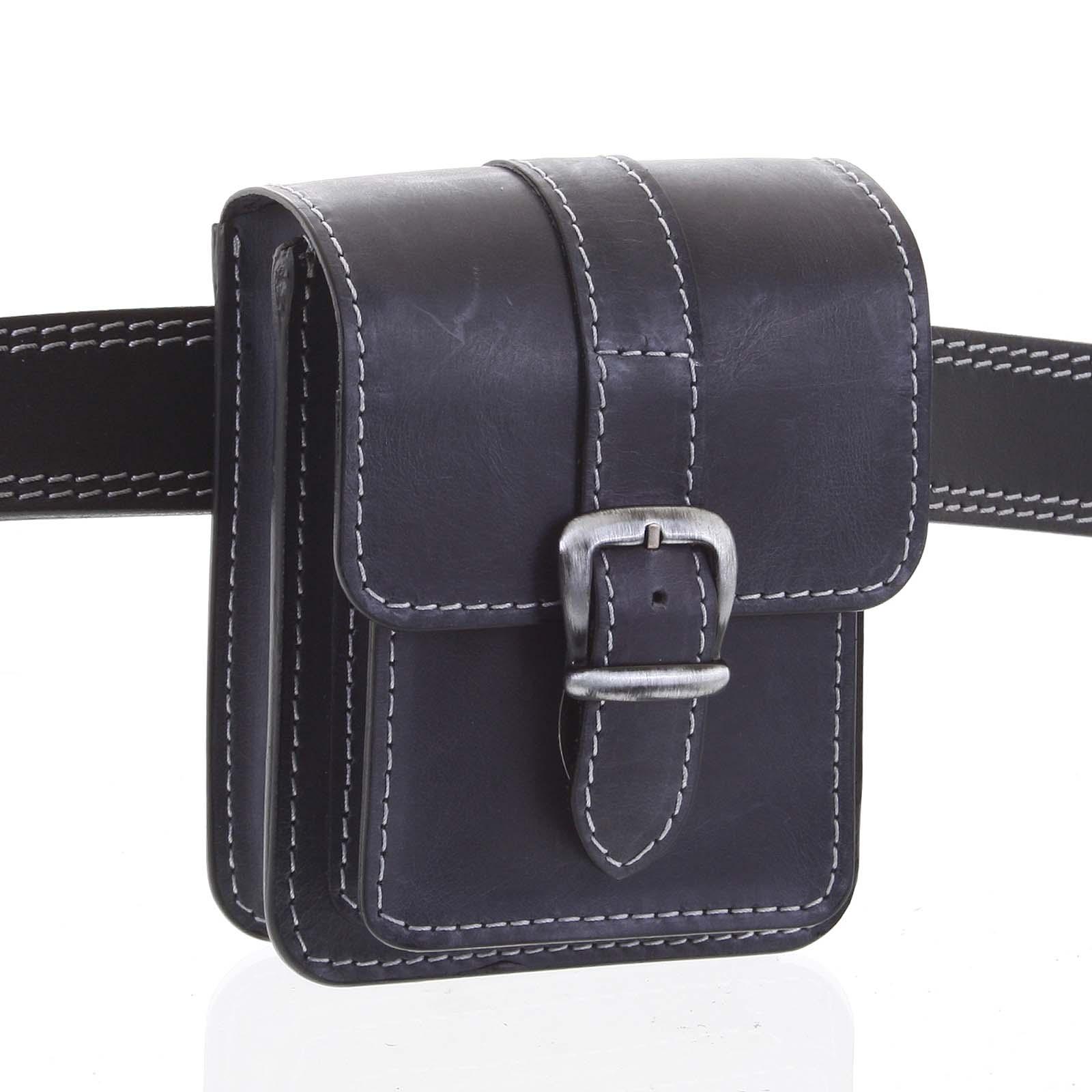 Pánska kožená kapsa na opasok čiernomodrá - Kabea Kisi 2 čierna