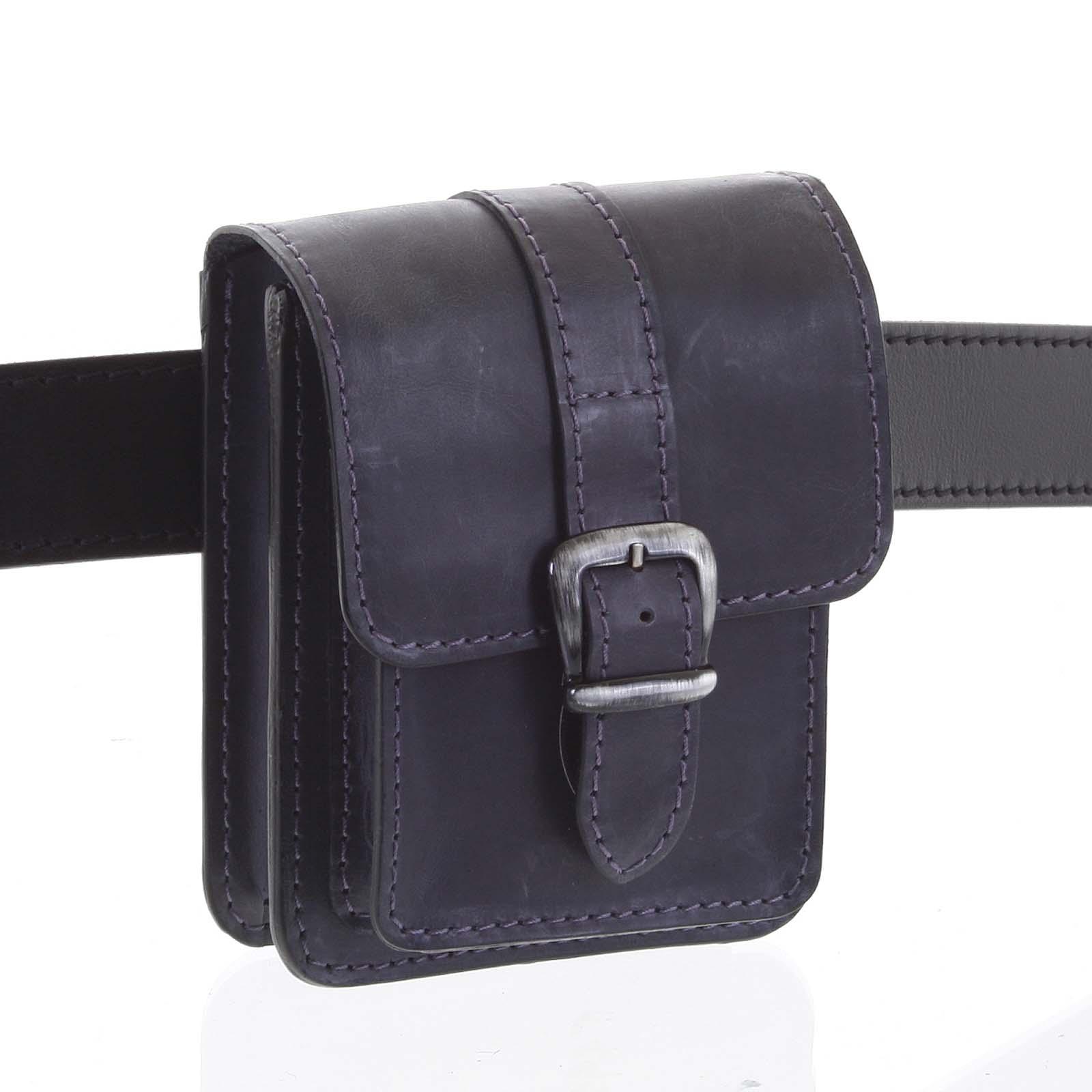 Pánska kožená kapsa na opasok čiernomodrá - Kabea Kisi čierna