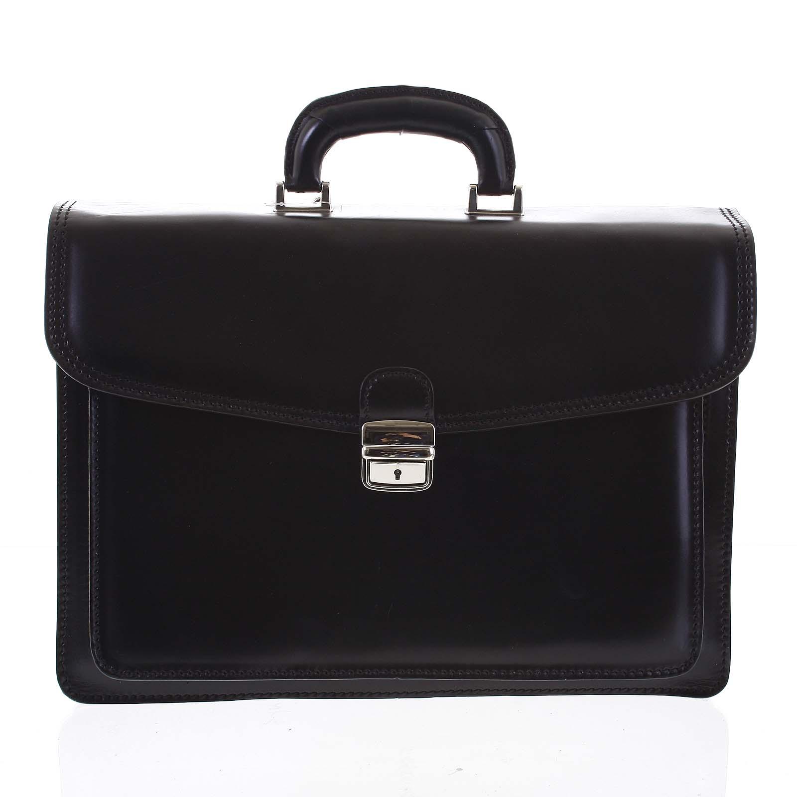 Jemná pánska kožená aktovka čierna - ItalY K17 EX čierna