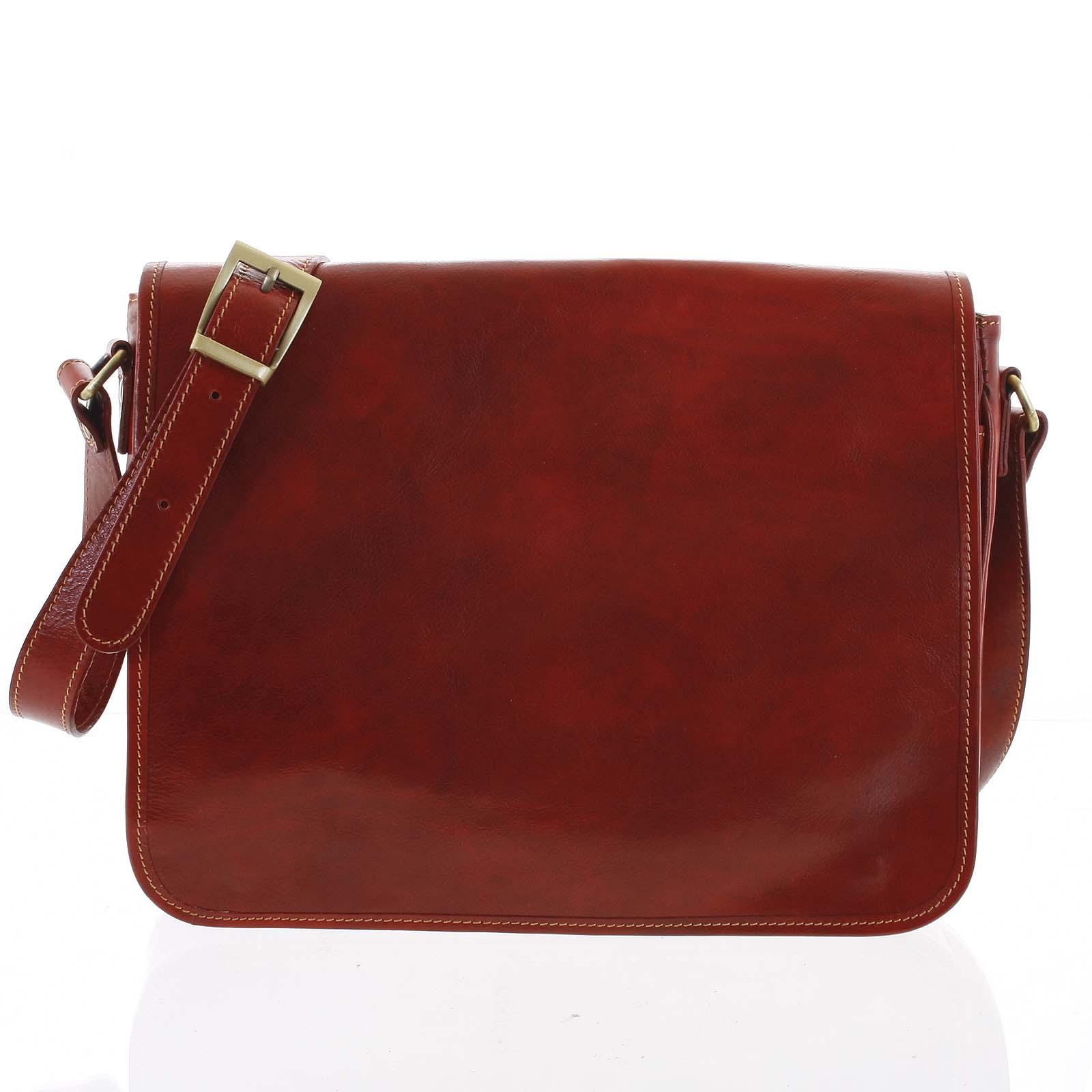 Väčšia pracovná kožená taška červená - ItalY Equado Achilles červená