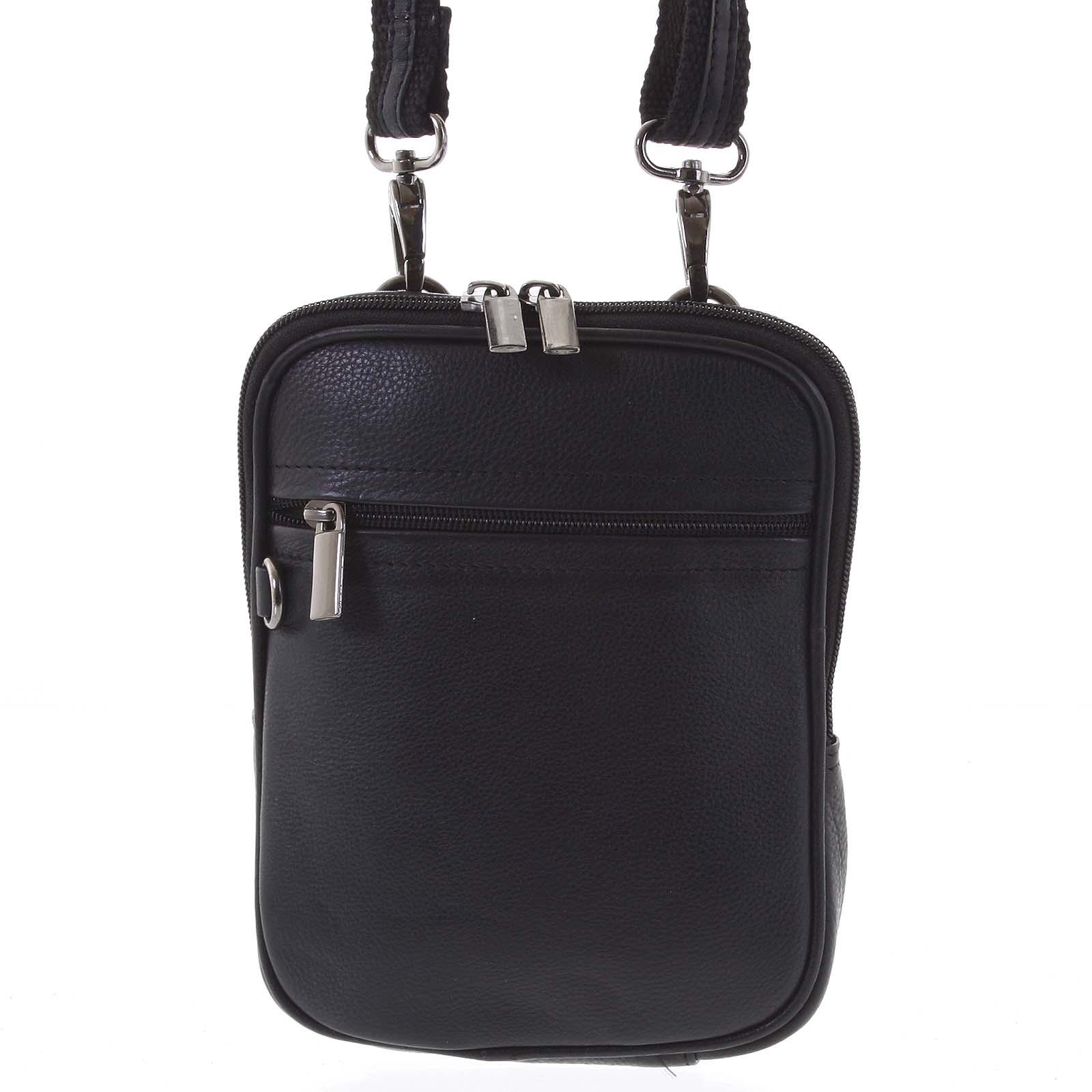 Malá pánska kožená taštička na doklady čierna - WILD ChinChin čierna