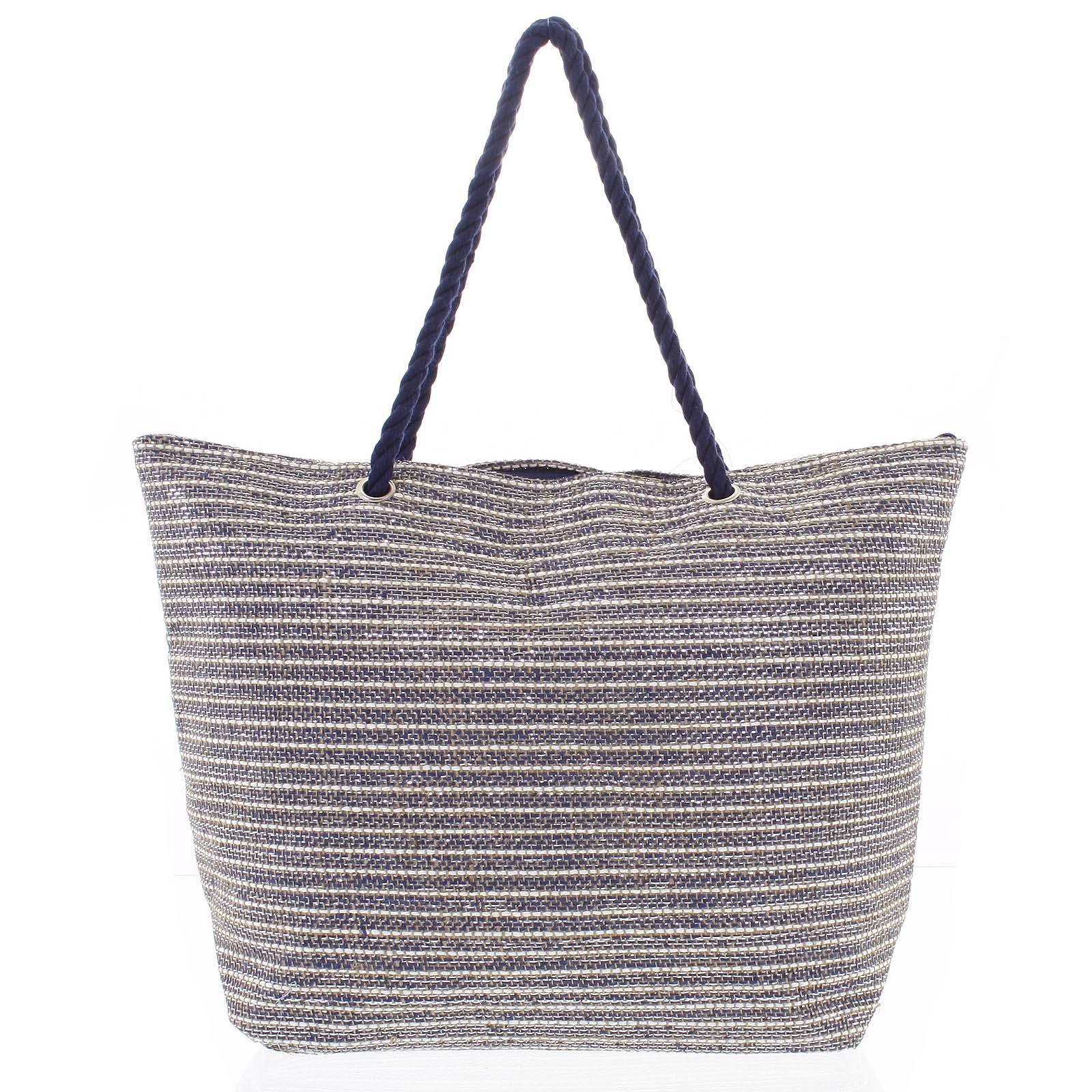 Hrubšia modro béžová plážová taška - Delami Coarse modrá