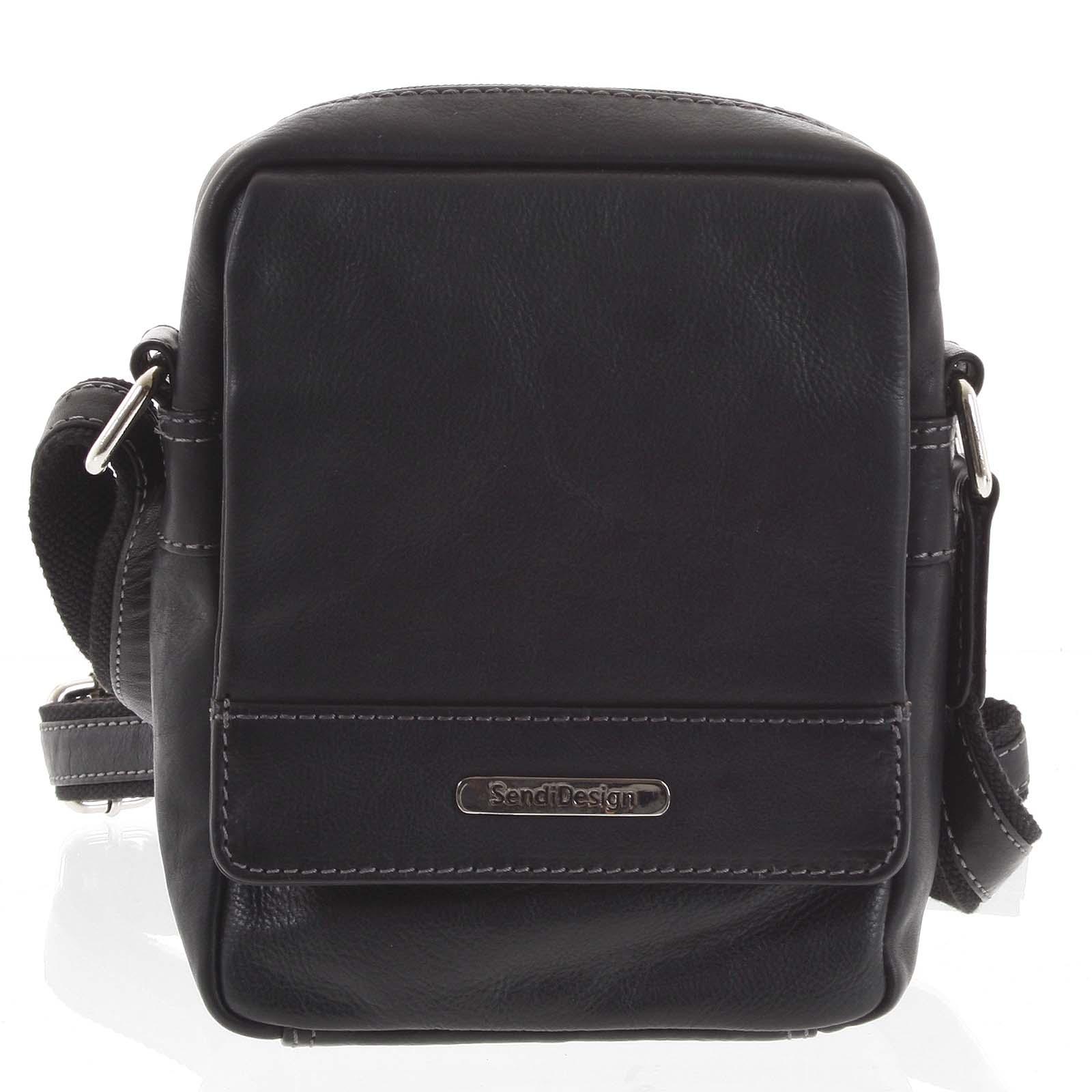 Čierna luxusná pánska kožená crossbody taška - SendiDesign Khalil čierna
