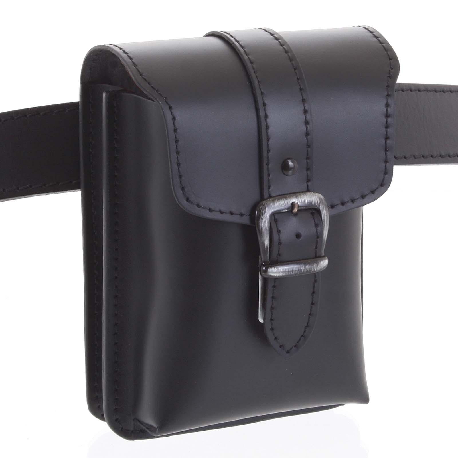 Pánske kožené vrecko na opasok čierna - Kabea Hepp čierna