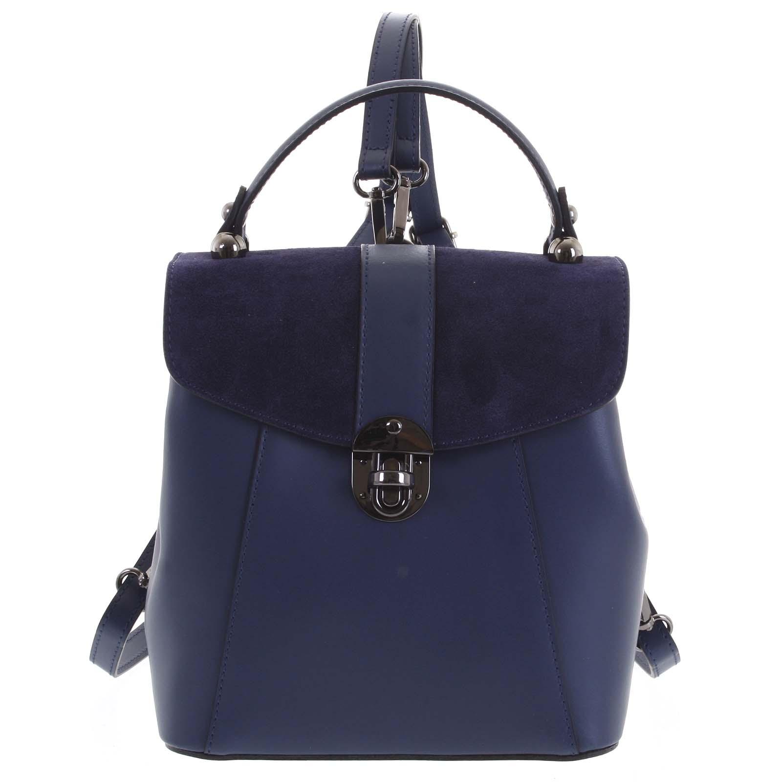 Dámsky originálne kožený temne modrý batôžtek / kabelka - ItalY Acnes tmavo modra