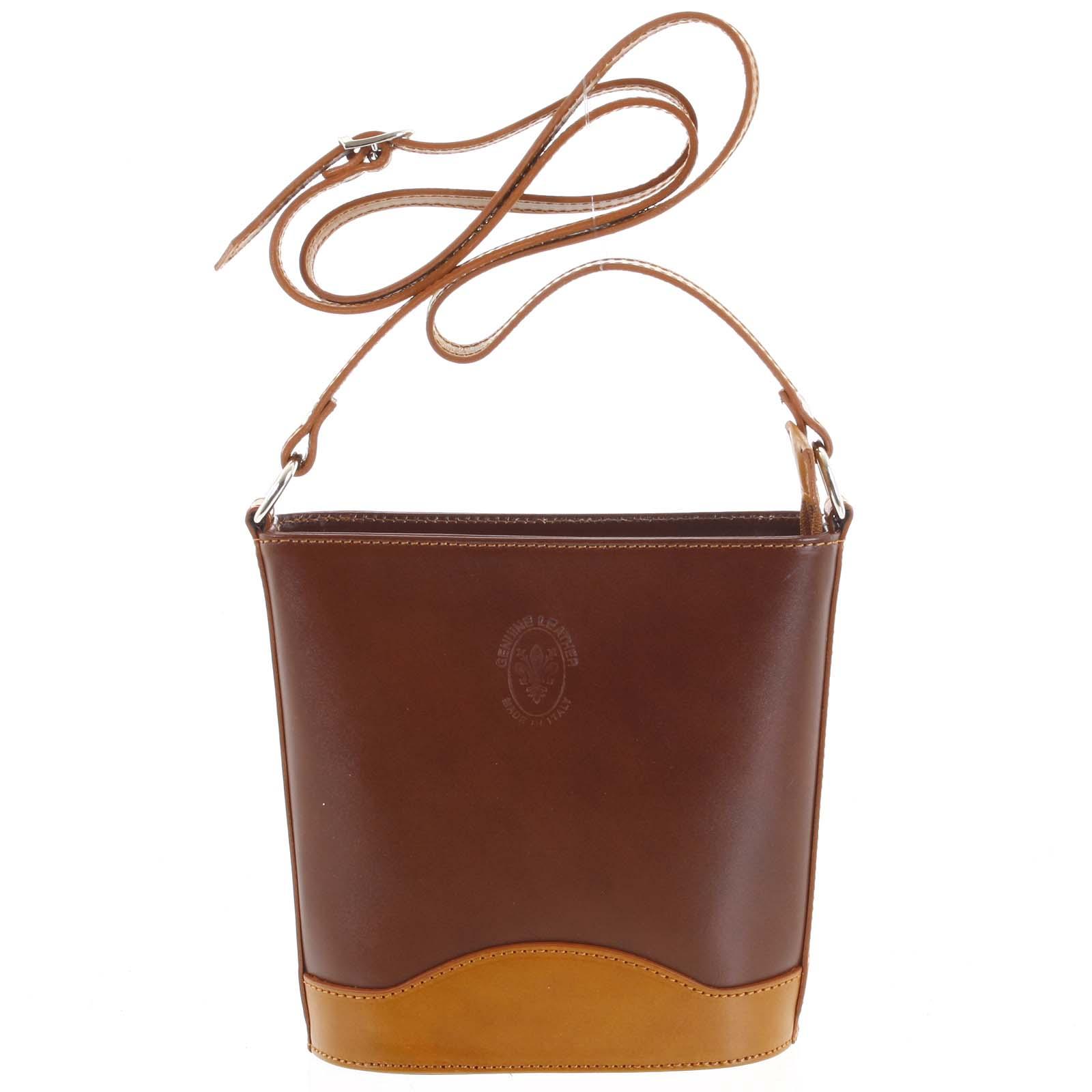 Hnedo koňaková kožená crossbody kabelka - ItalY Bryana hnedá