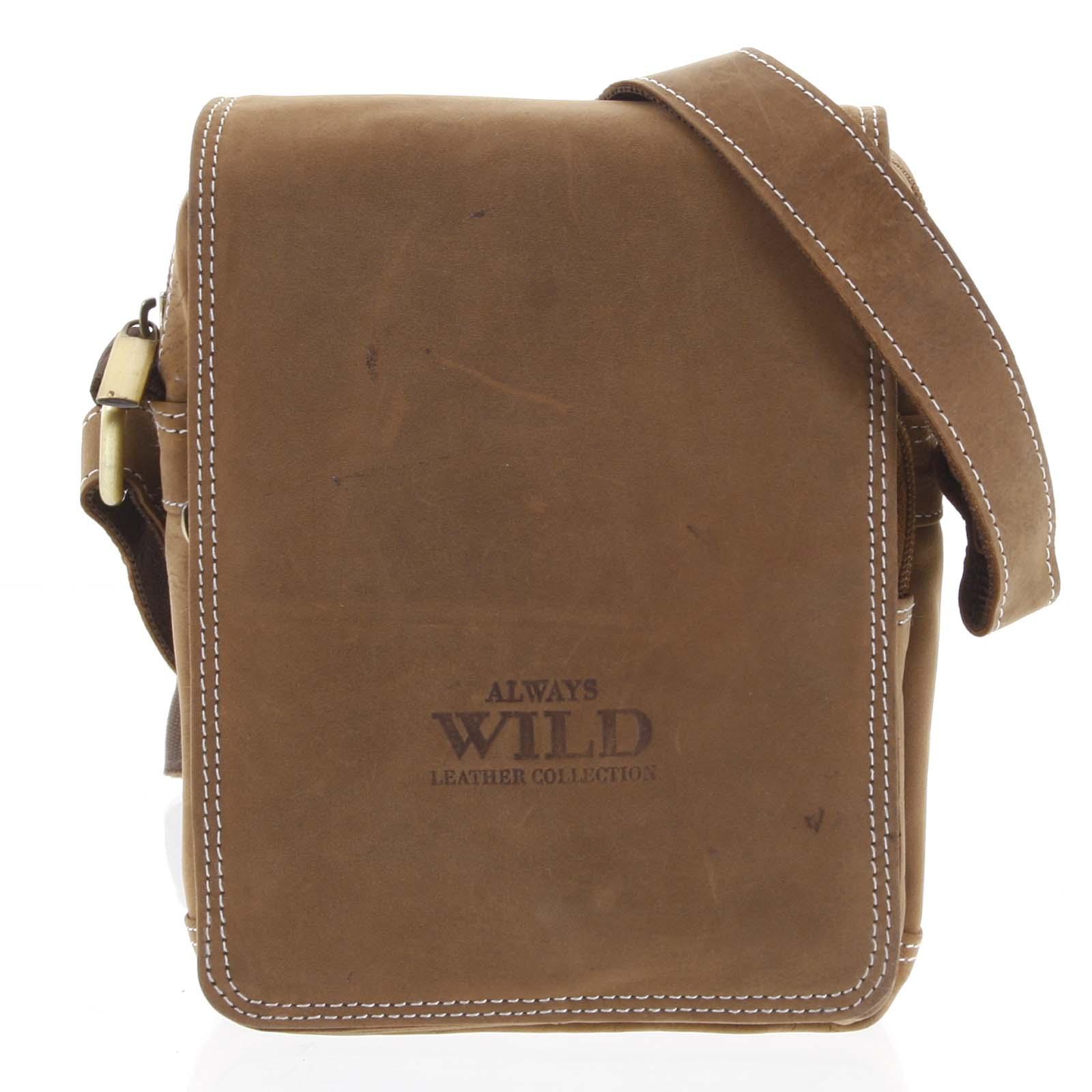 Malá pánska kožená taška prírodne hnedá - WILD Ethan hnedá