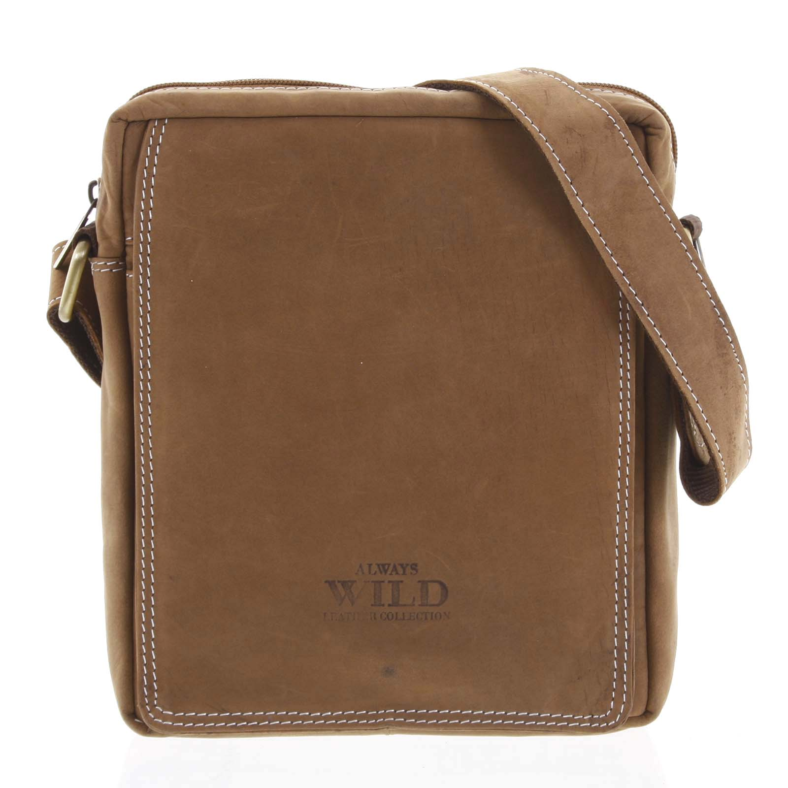 Pánska kožená crossbody taška hnedá - WILD Yander hnedá