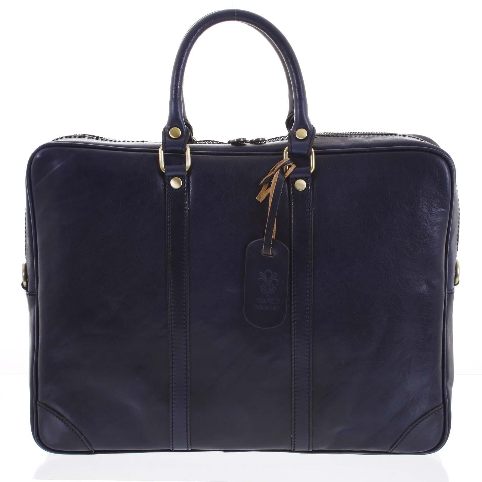 Pánska kožená taška modrá - ItalY Paolo tmavo modra