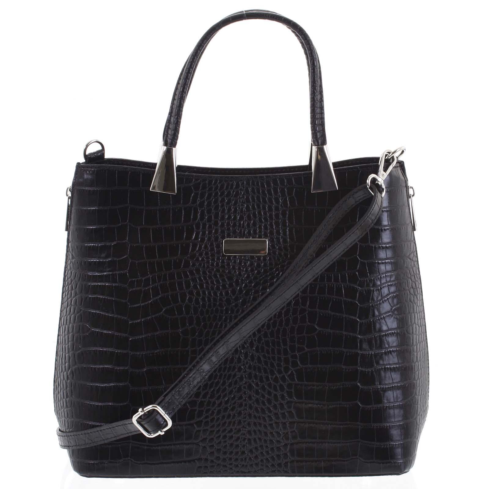 Luxusná dámska kožená kabelka čierna - ItalY Marion čierna