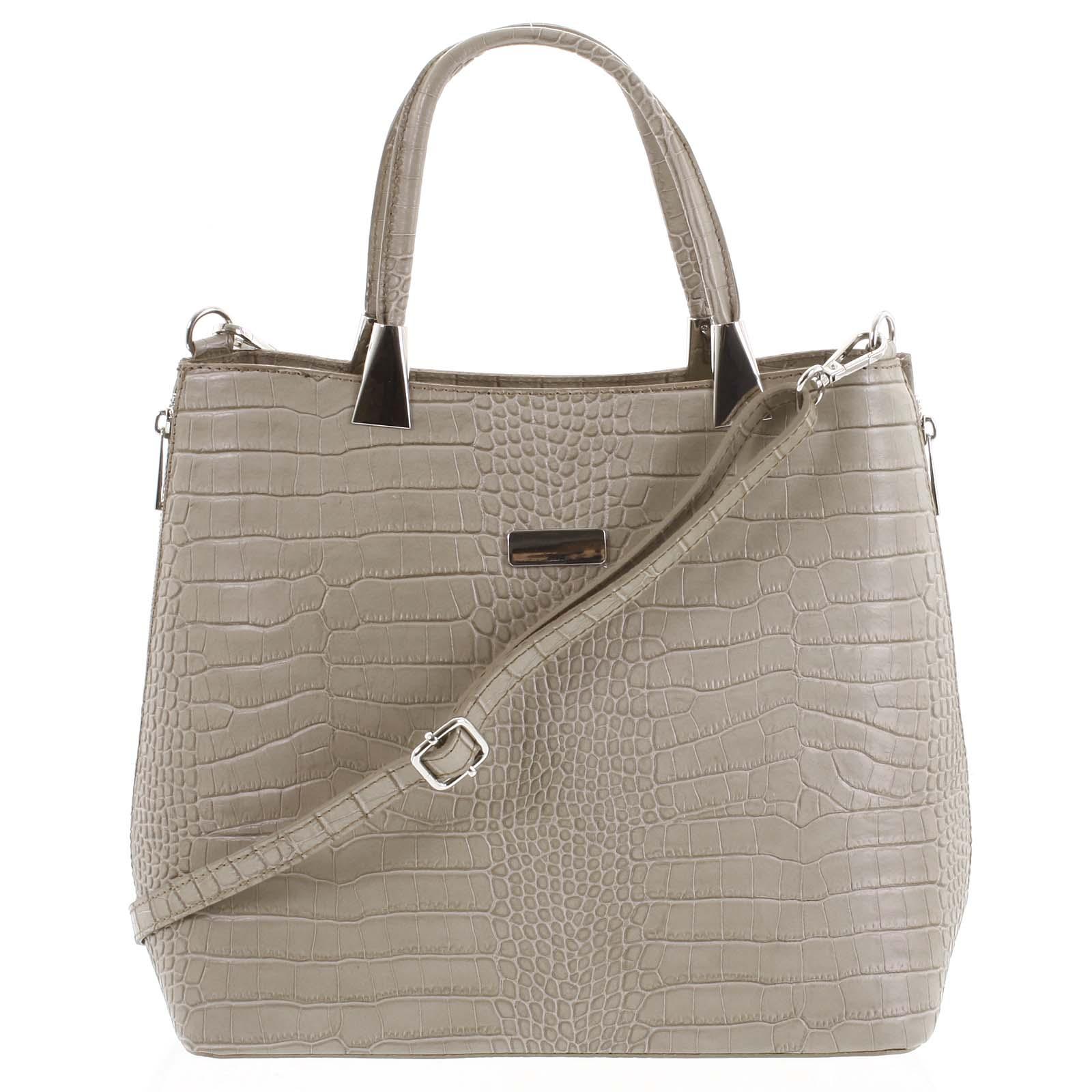 Luxusná dámska kožená kabelka taupe - ItalY Marion taupe