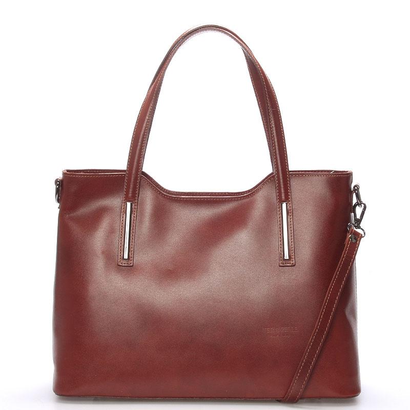 Väčšia kožená kabelka hnedá - ItalY Sandy hnedá