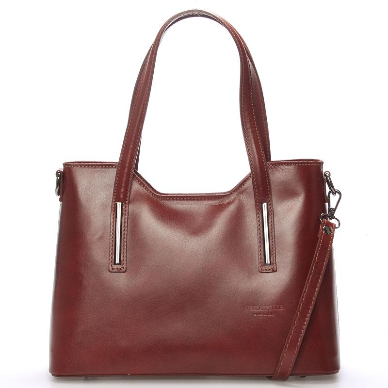 Stredná kožená kabelka hnedá - ItalY Chevell hnedá