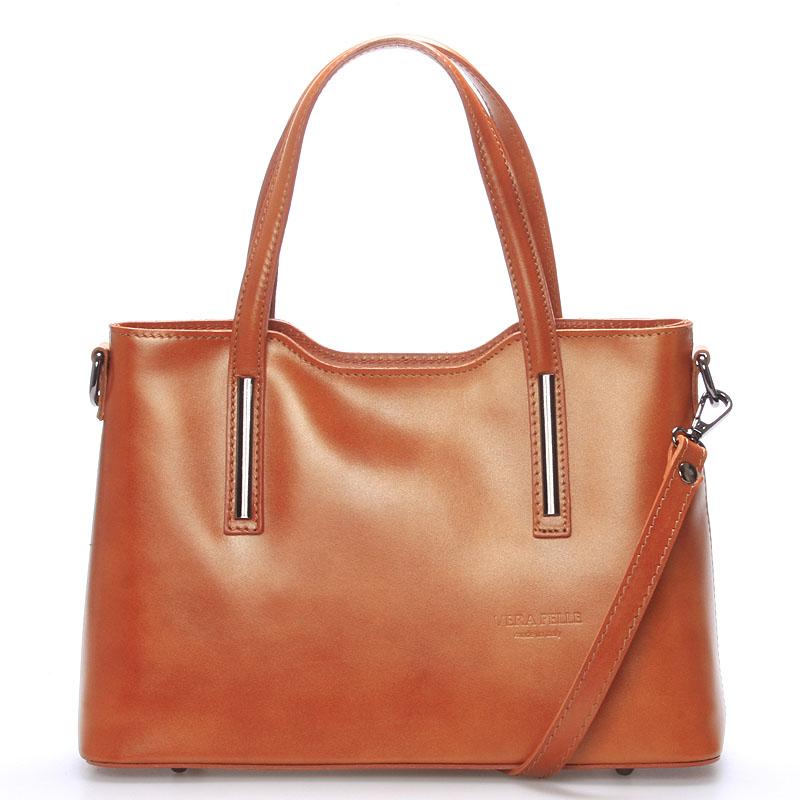 Menšie kožená kabelka svetlo hnedá - ItalY Alex hnedá