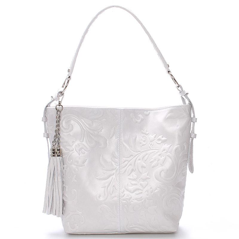 Dámska kožená kabelka cez rameno svetlo šedá - Italo Heather šedá
