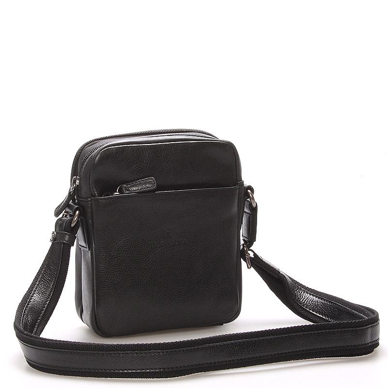 Čierna luxusná kožená taška na doklady Hexagona 129477 čierna