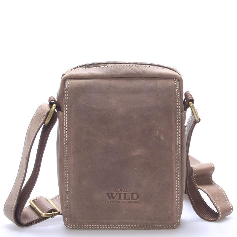 Pánska kožená taška na doklady svetlo hnedá - WILD Patric Taupe