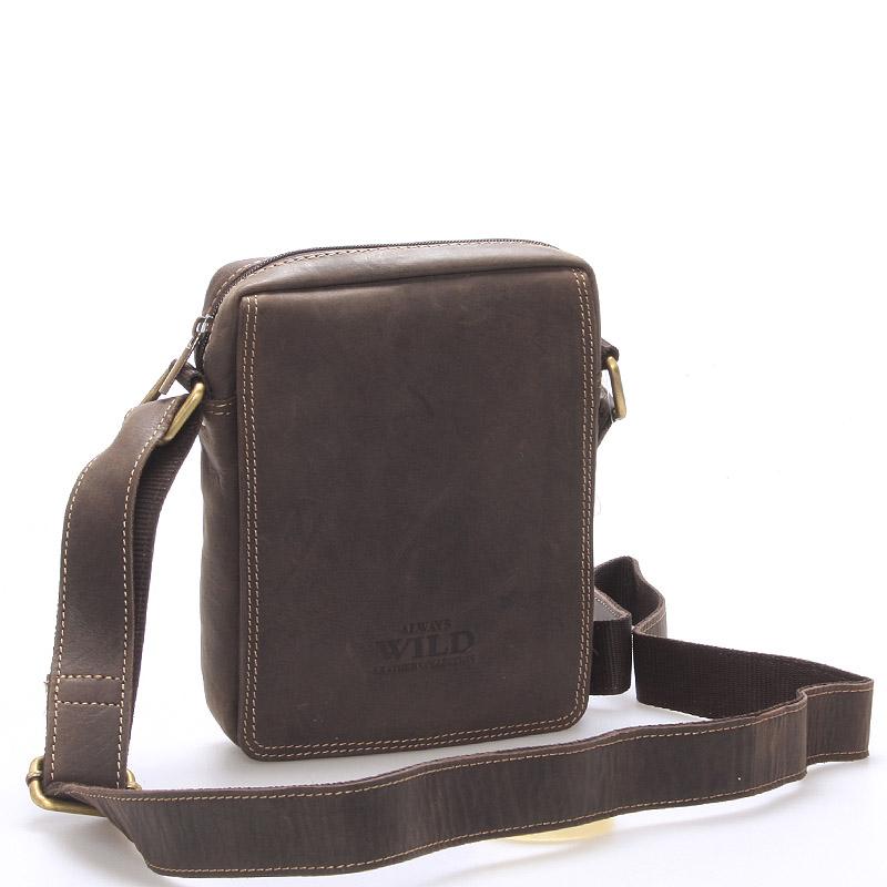 Pánska kožená taška na doklady tmavo hnedá - WILD Patric hnedá