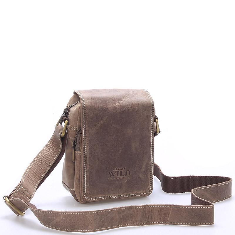 Malá pánska kožená taška svetlo hnedá - WILD Ethan Taupe