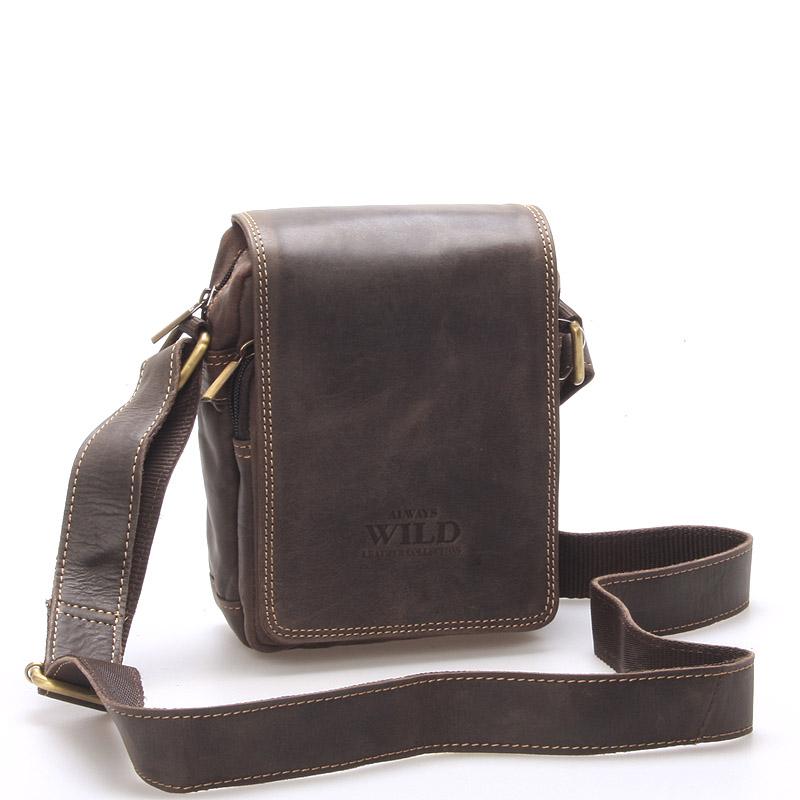 Malá pánska kožená taška tmavo hnedá - WILD Ethan hnedá