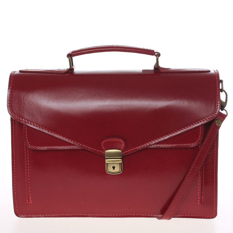 Luxusná červená kožená aktovka ItalY Kevin červená