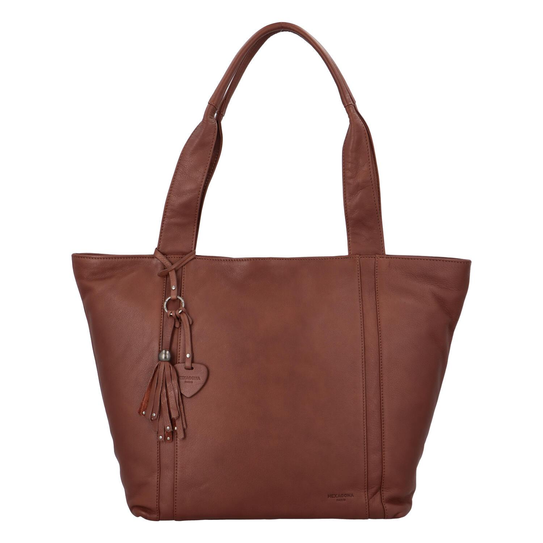 Veľká dámska kožená kabelka hnedá - Hexagona Common hnedá