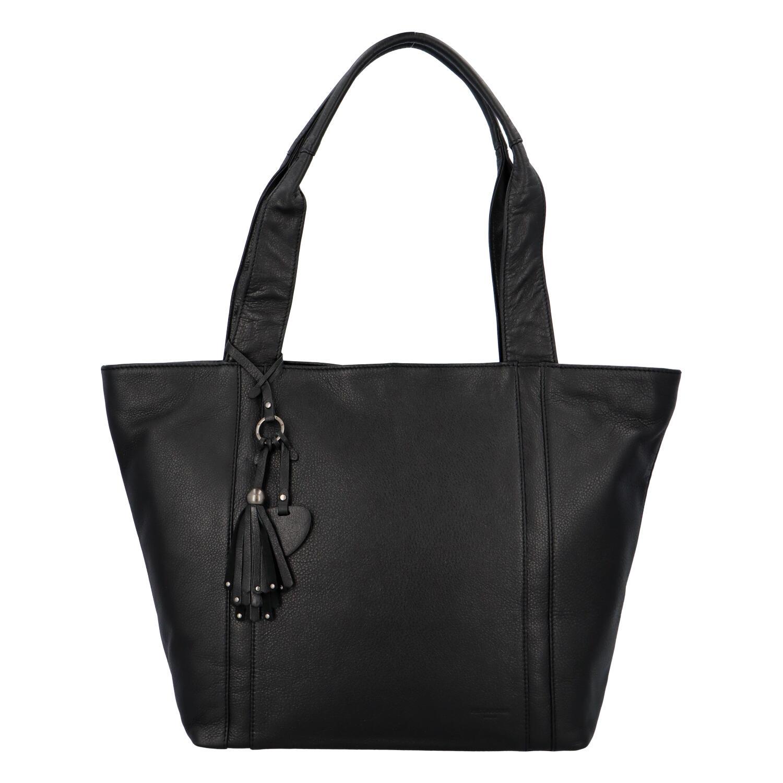Veľká dámska kožená kabelka čierna - Hexagona Common čierna