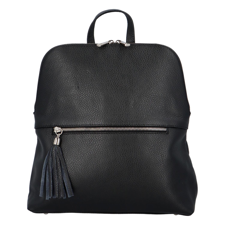 Dámsky kožený batoh kabelka čierny - ItalY Bruiel čierna