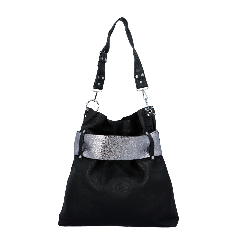 Luxusná dámska kabelka čierno strieborná - Paolo Bags Manue čierna