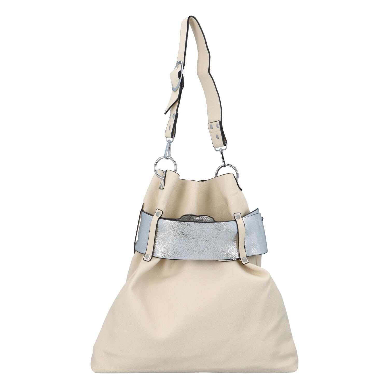 Luxusná dámska kabelka béžovo strieborná - Paolo Bags Manue béžová