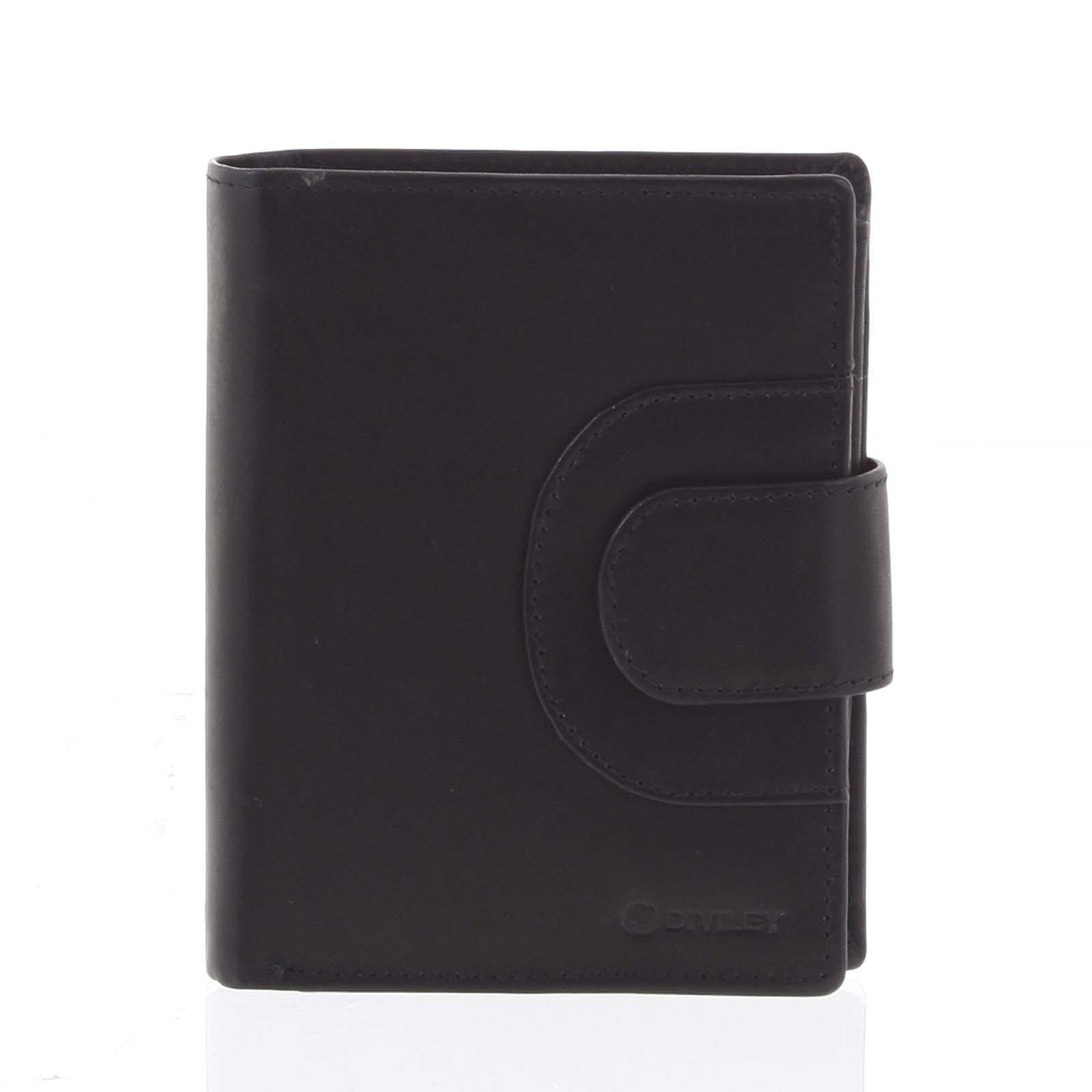 Pánska kožená prešívaná peňaženka čierna - Diviley Universe čierna