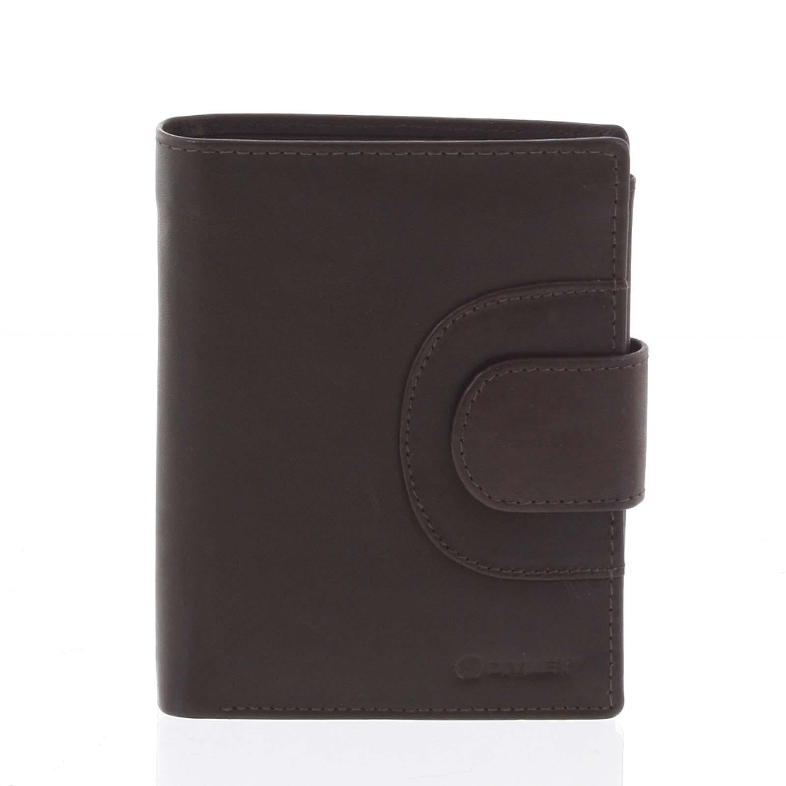 Pánska kožená prešívaná peňaženka hnedá - Diviley Universe hnedá