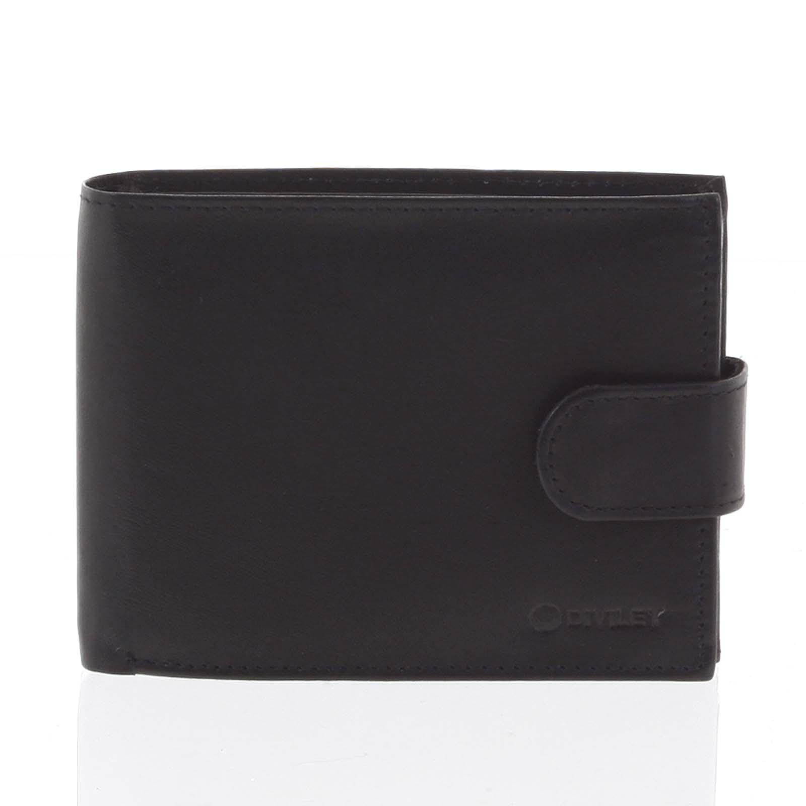 Pánska kožená peňaženka čierna so zápinkou - Diviley Univerzum čierna