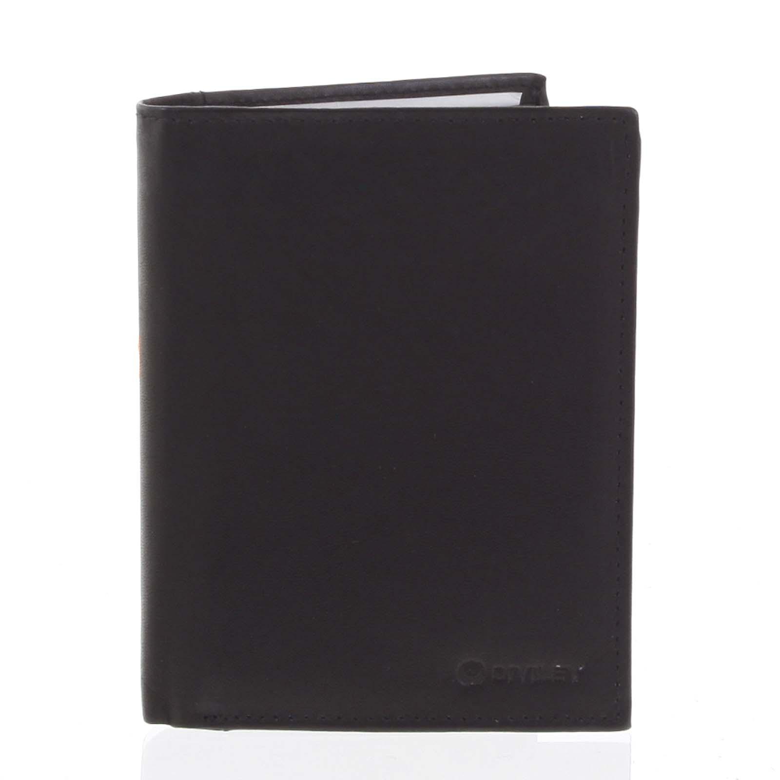 Pánska pevná kožená peňaženka čierna - Diviley Kainat čierna