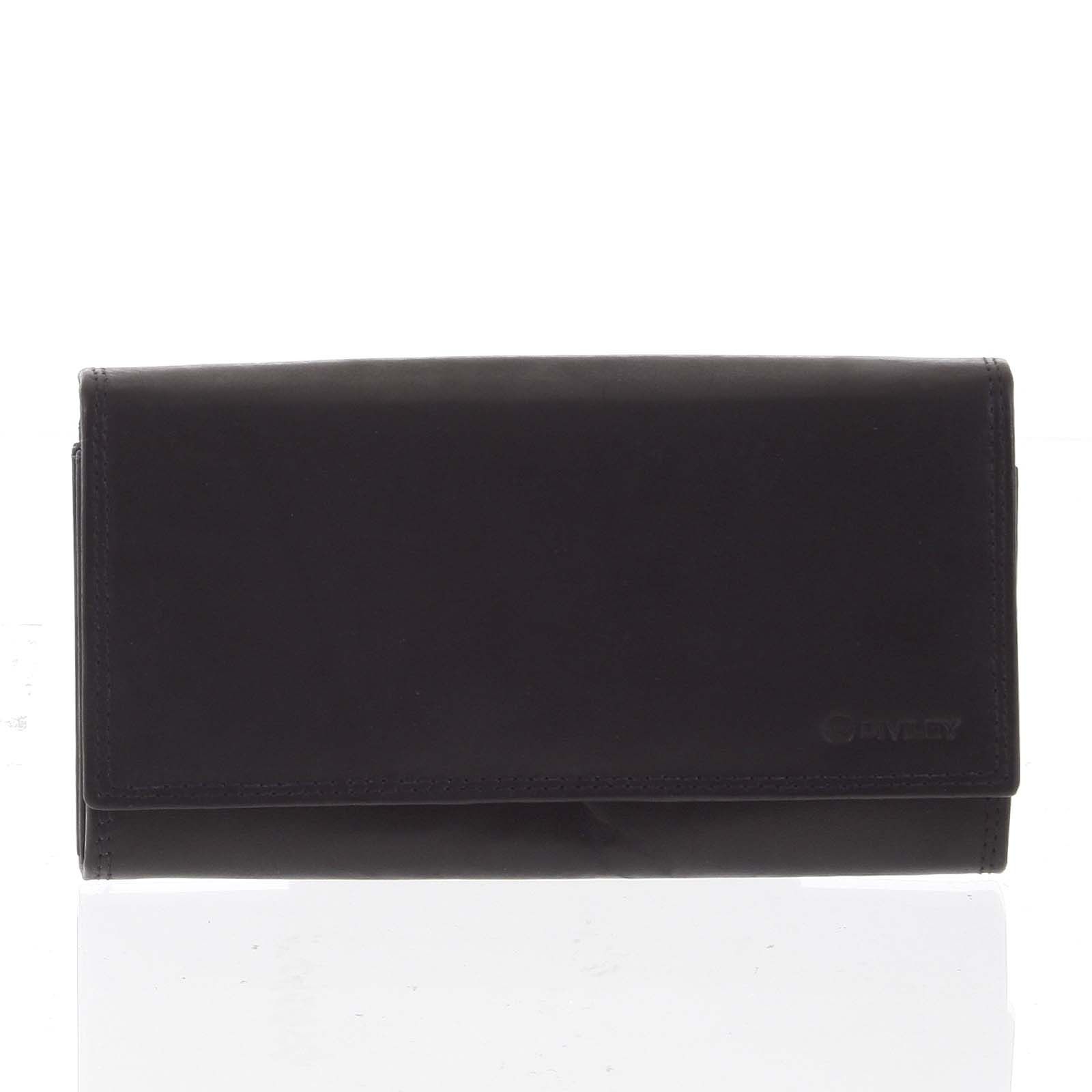 Dámska klasická čierna kožená peňaženka - Diviley Svemir čierna