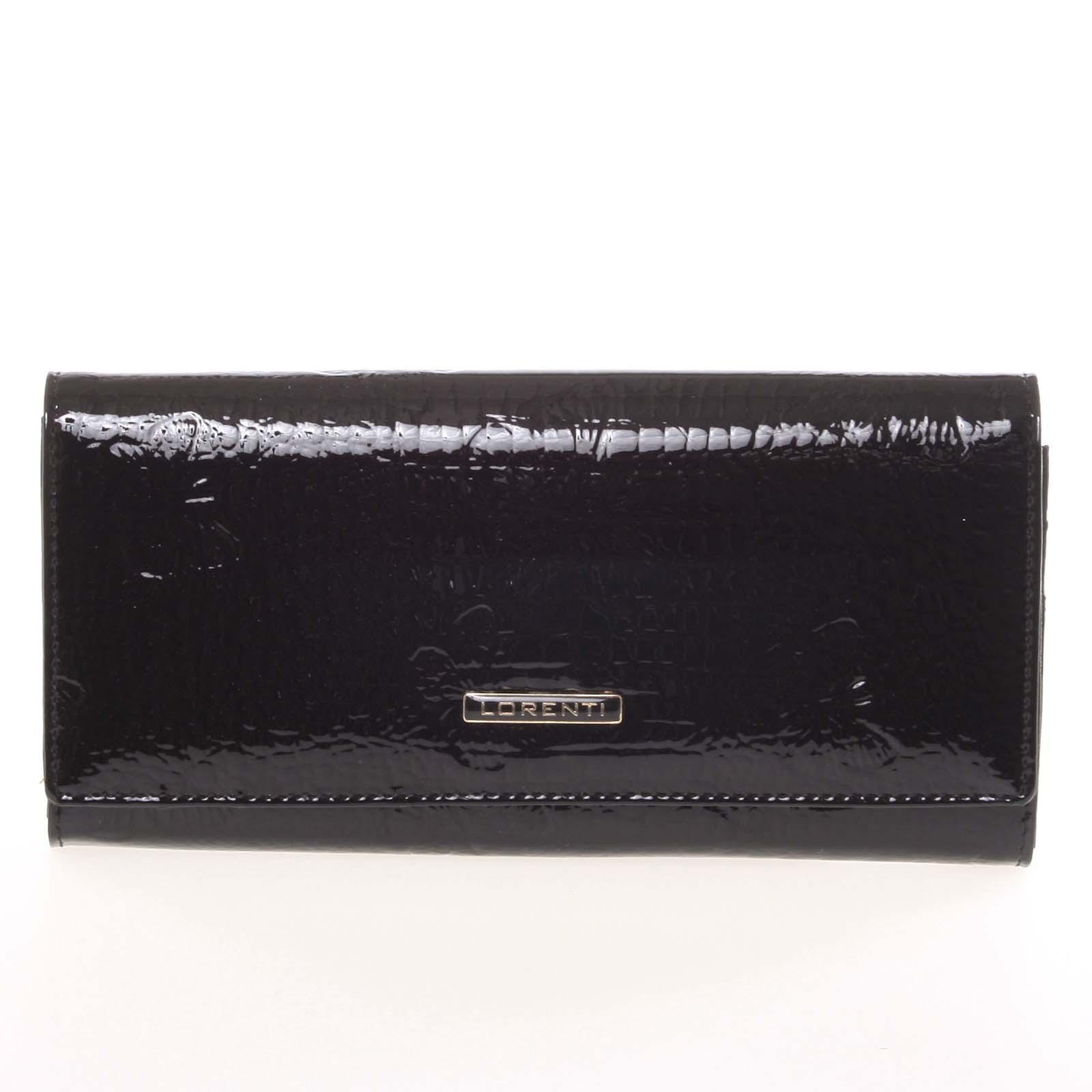 Dámska módna kožená lakovaná peňaženka čierna - Lorenti Idylla čierna