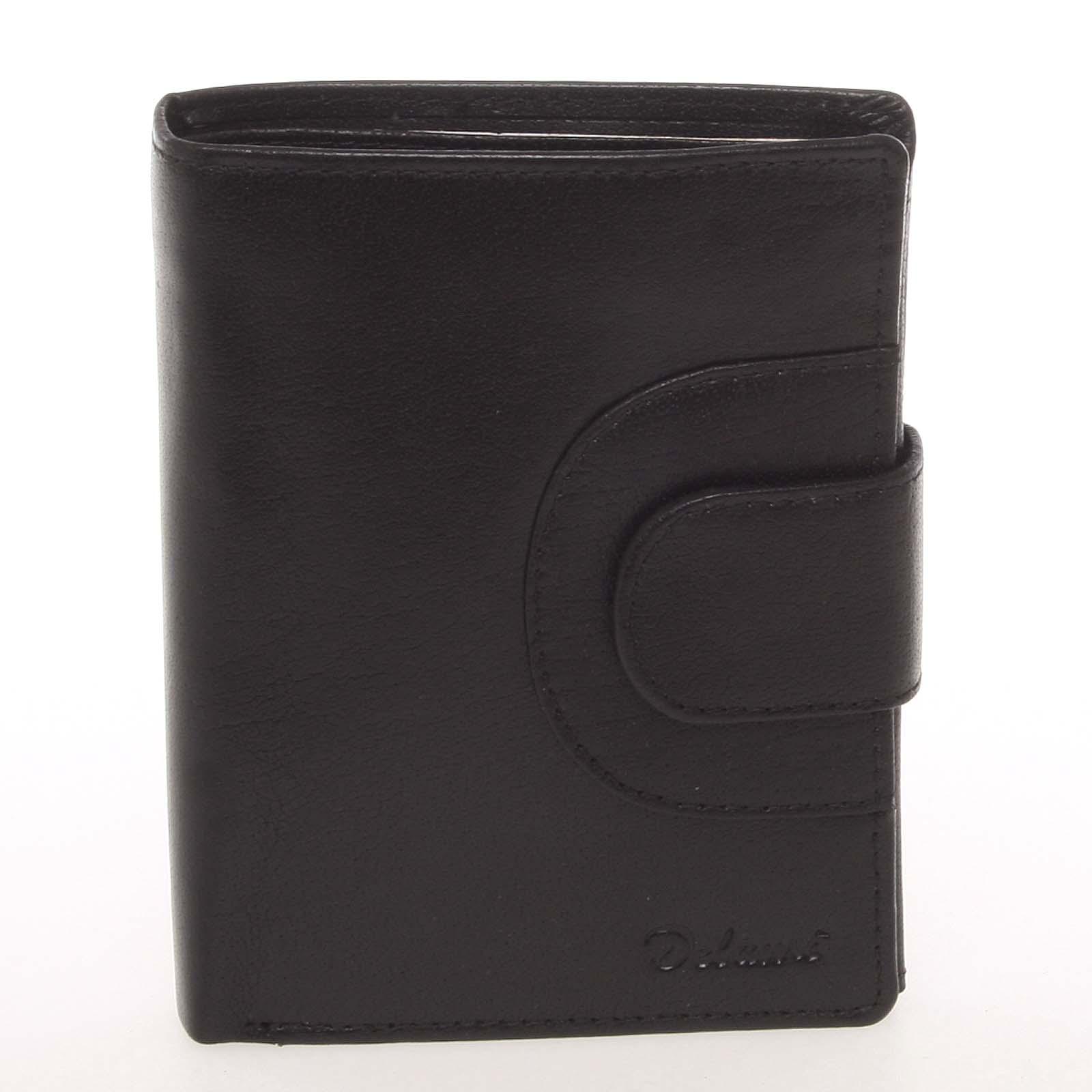 Elegantná pánska kožená čierna peňaženka - Delami Norm čierna