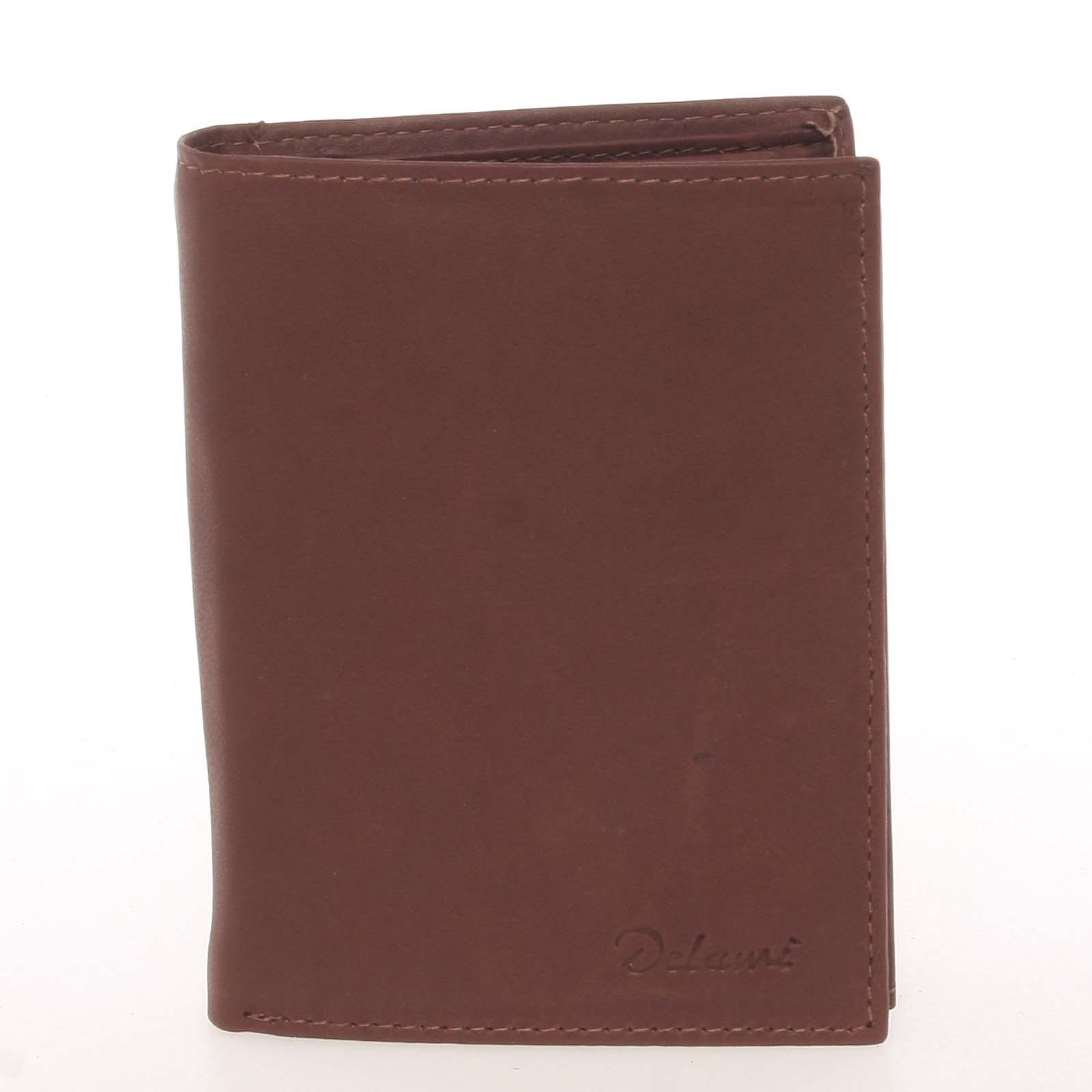 Pánska kožená hnedá peňaženka - Delami Therron hnedá