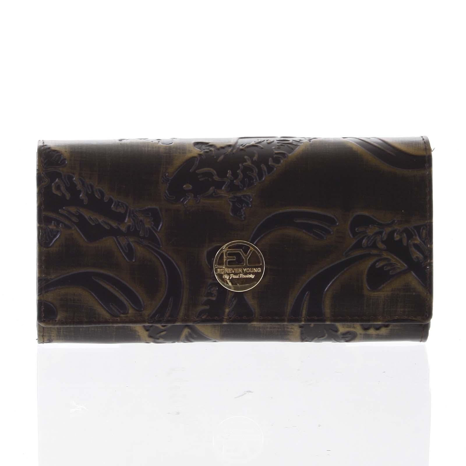 Elegantná dámska kožená peňaženka medená - Rovicky 64003 zelená