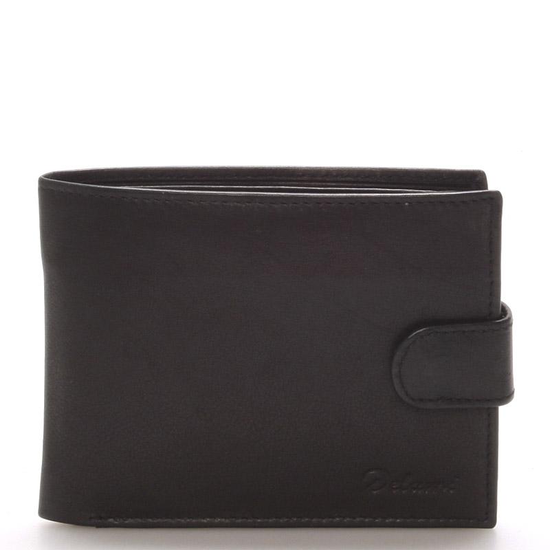 Pánska kožená čierna peňaženka - Delami 8945 čierna